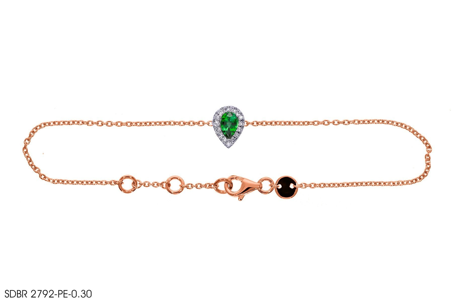 Green Gemstone Gold Bracelet - Jeem Noon