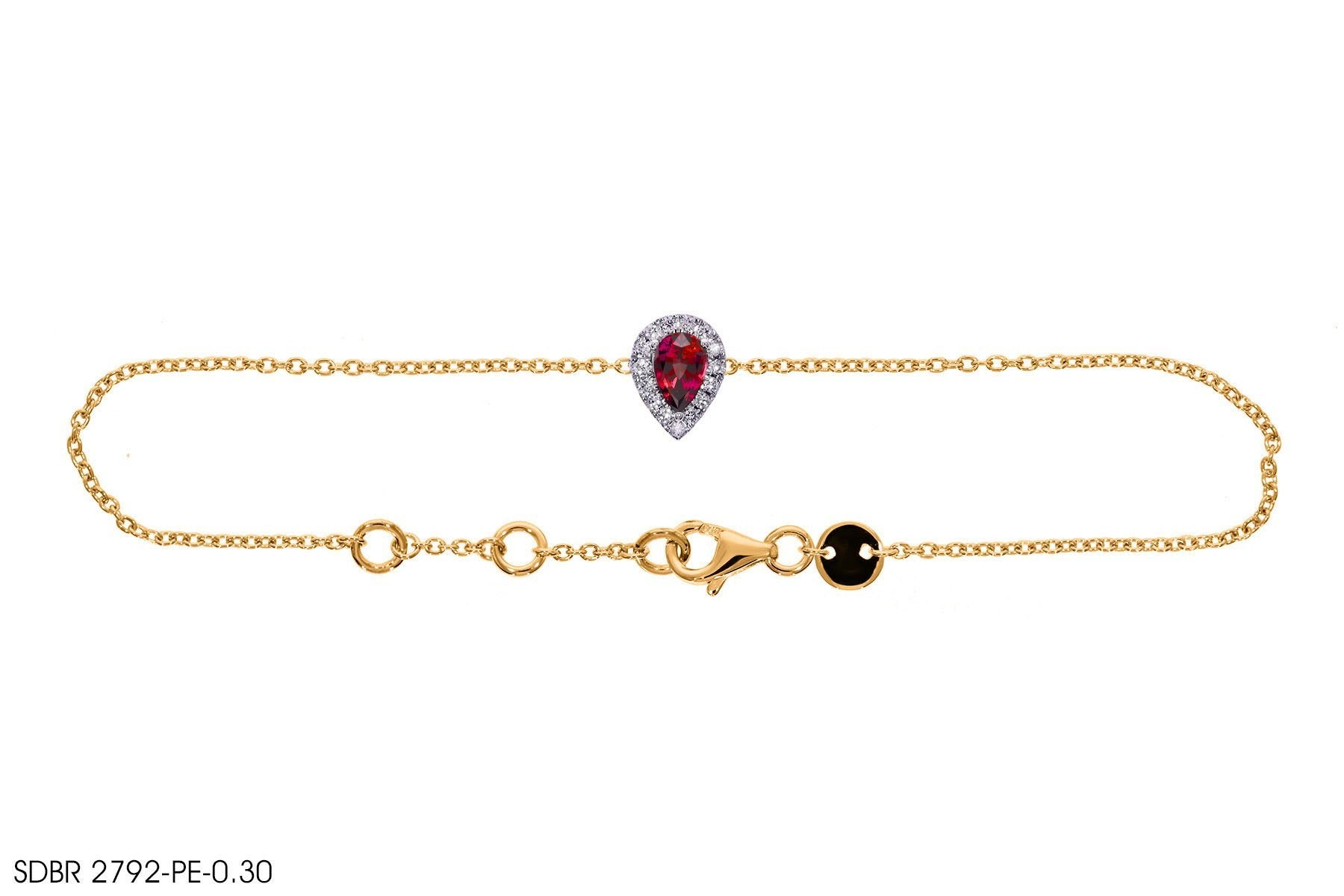 Red Gemstone Gold Bracelet - Jeem Noon