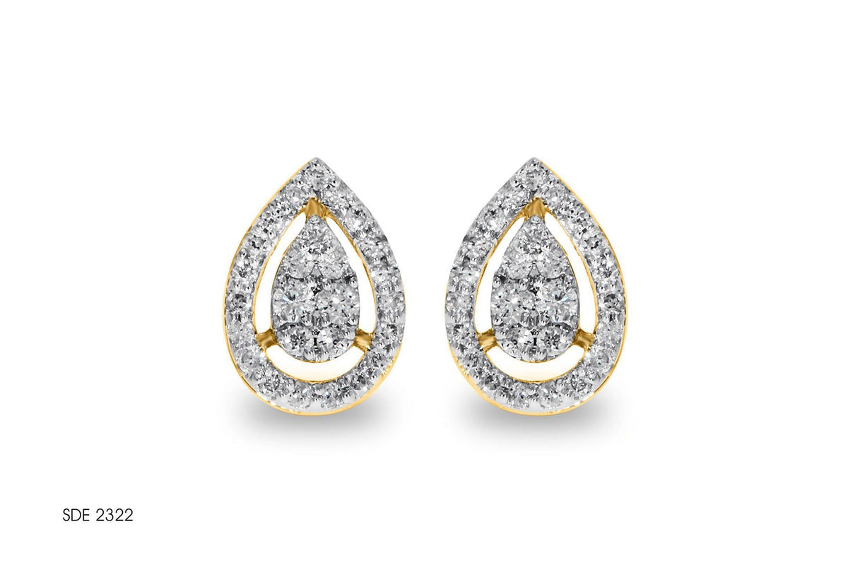 Teardrop Diamond Brooch Gold Earring