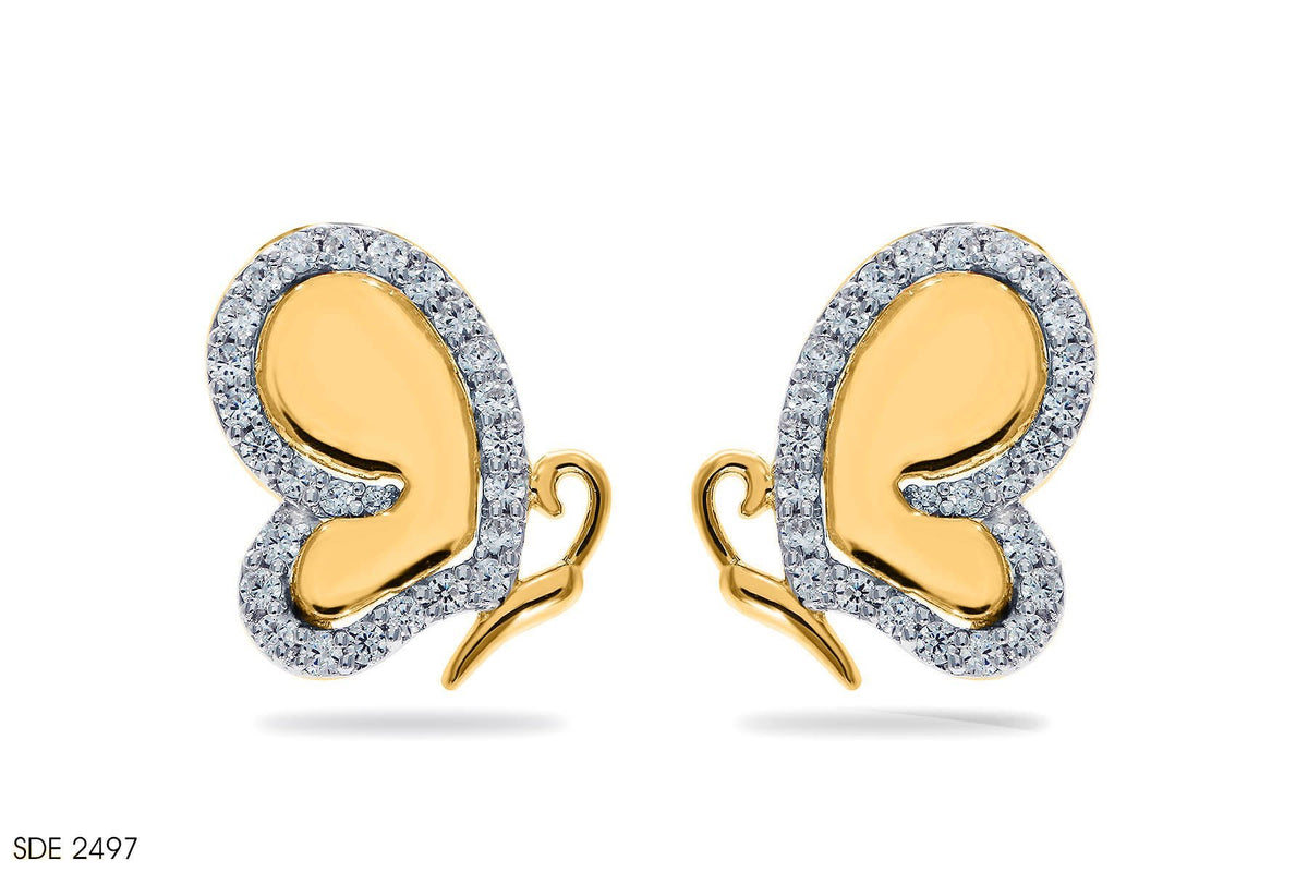 Nature Precious Butterfly Diamond Earring