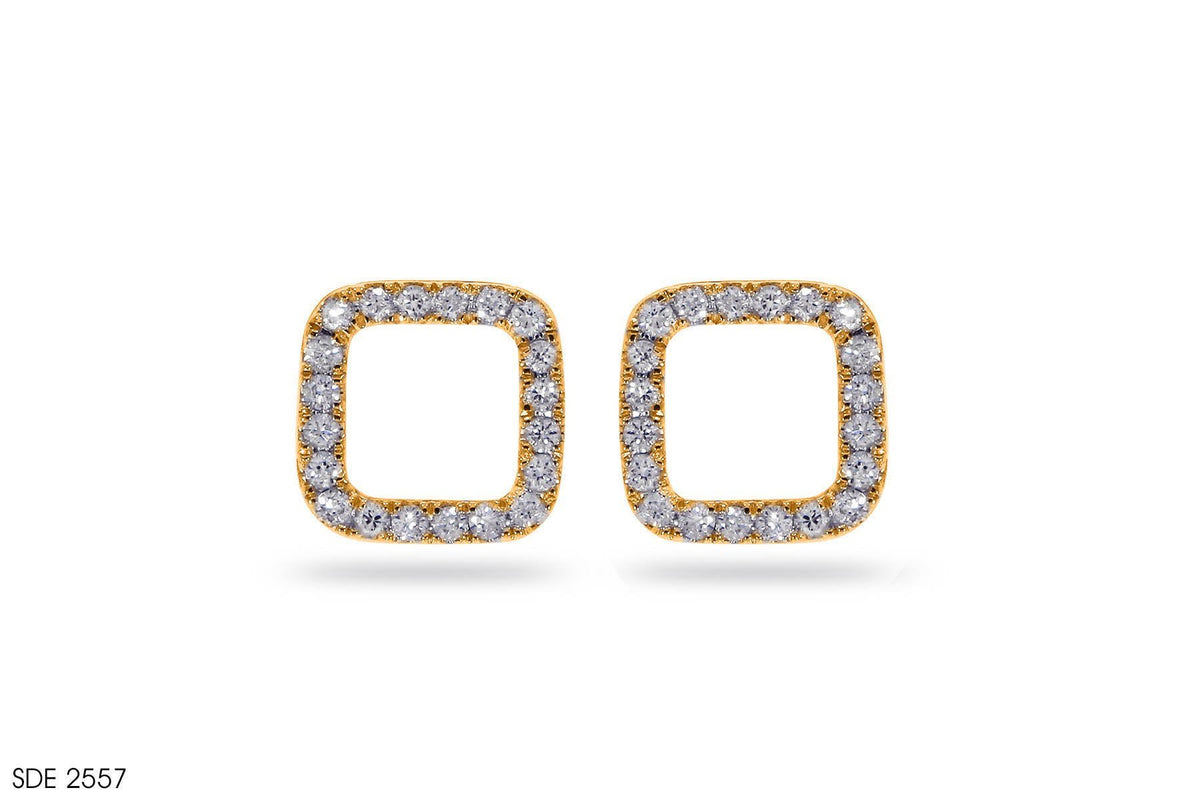 Halo Square Gold Earring - Jeem Noon