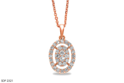 Oval-Shaped Diamond Cluster Gold Pendant