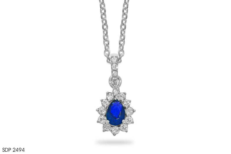 Sterling Blue Sapphire Diamond Pendant In Gold