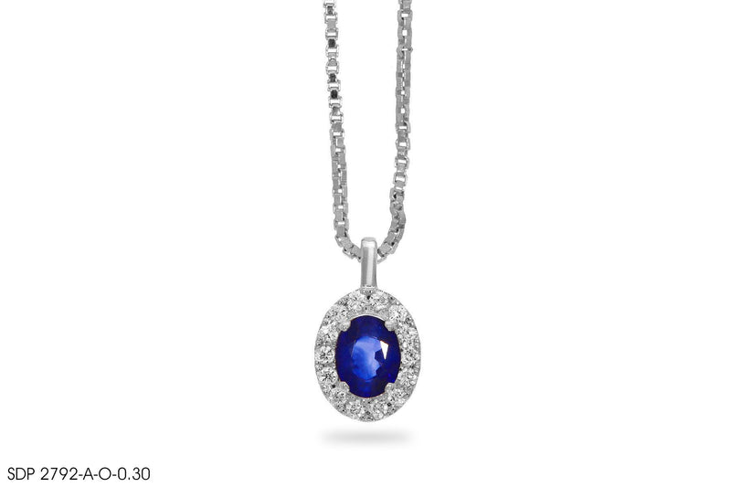 Fairy Glow Blue Sapphire Diamond Pendant In Gold