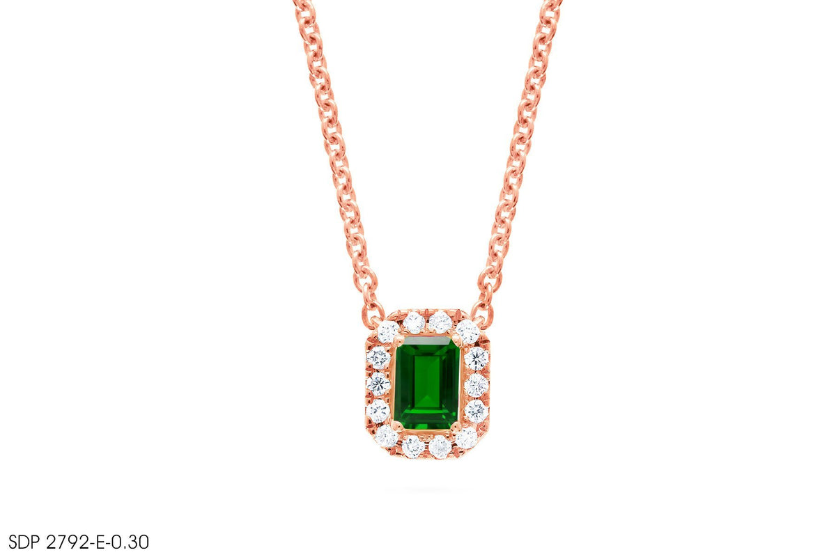 In 18k Gold Green Emerald Diamond Pendant