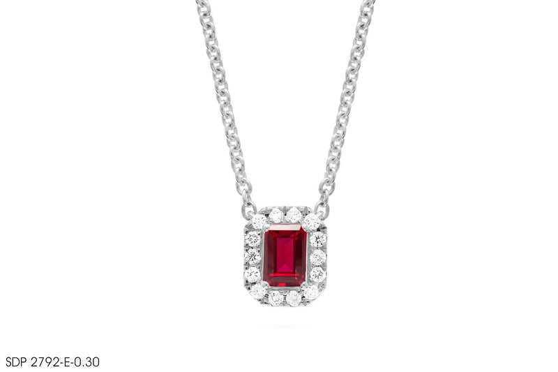 In 18k Gold Emerald-Cut Ruby Diamond Pendant