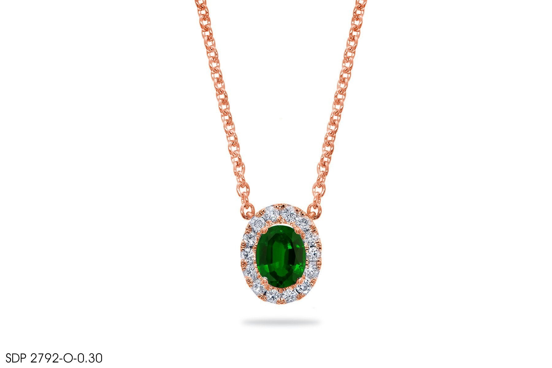 Oval-Shaped Emerald Diamond Pendant