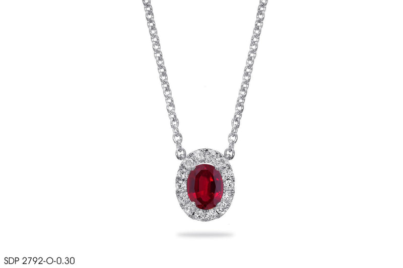 Oval-Shaped Ruby Diamond Pendant