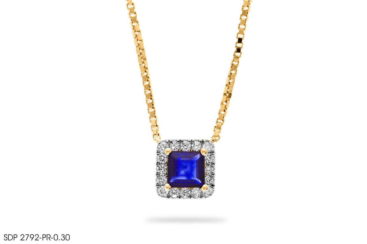 Blue Sapphire Square Diamond Pendant In Gold