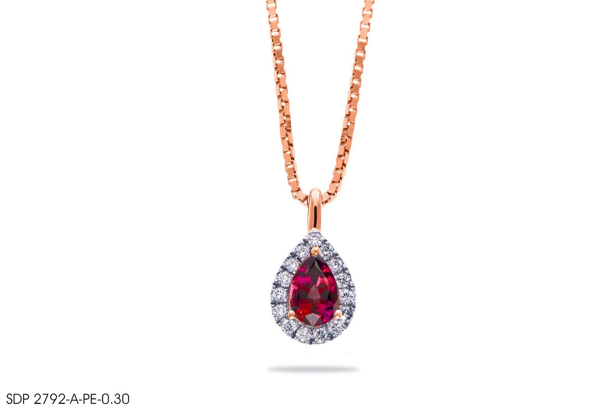 Majestic Red Gemstone Gold Pendant - Jeem Noon