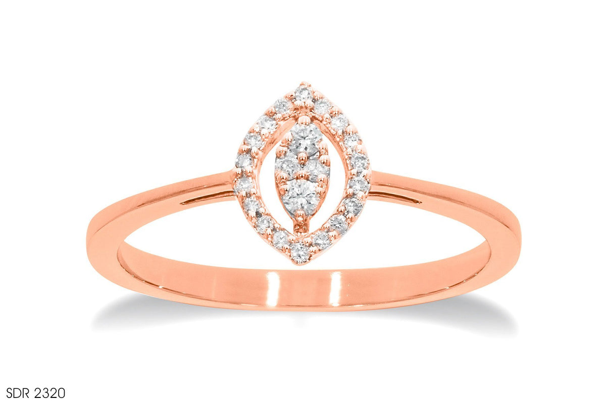 Tapered Gold Shank Diamond Ring