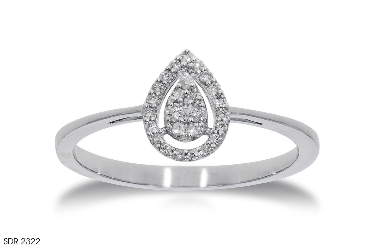 Teardrops Halo Diamond Engagement Ring