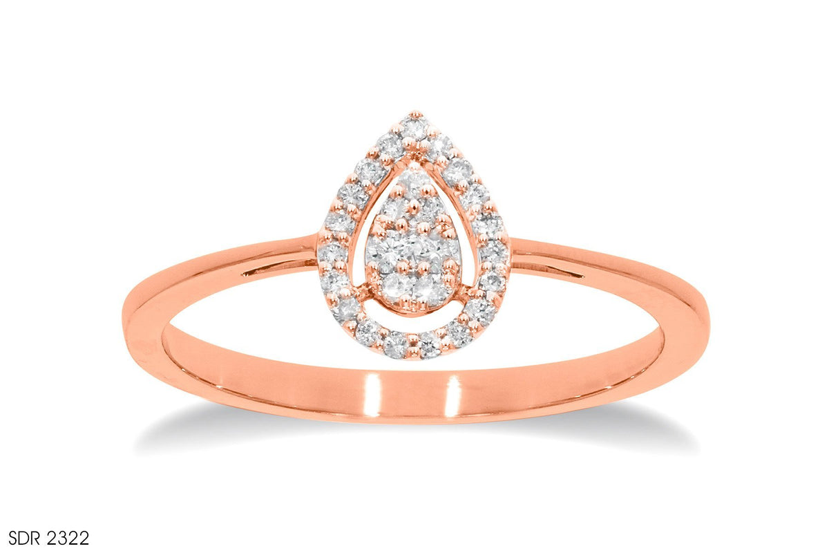 Drop-Shaped Diamond Ring In 18k Gold