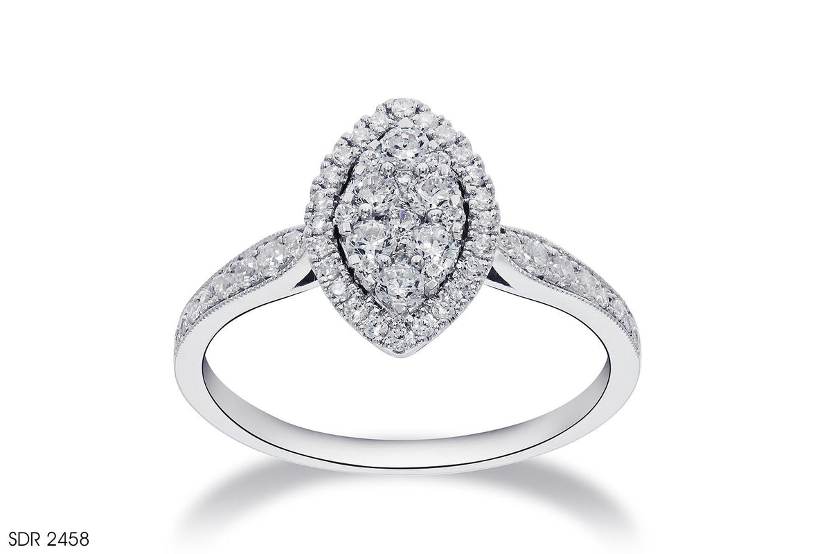 Pave Setting Round Diamond Engagement Ring