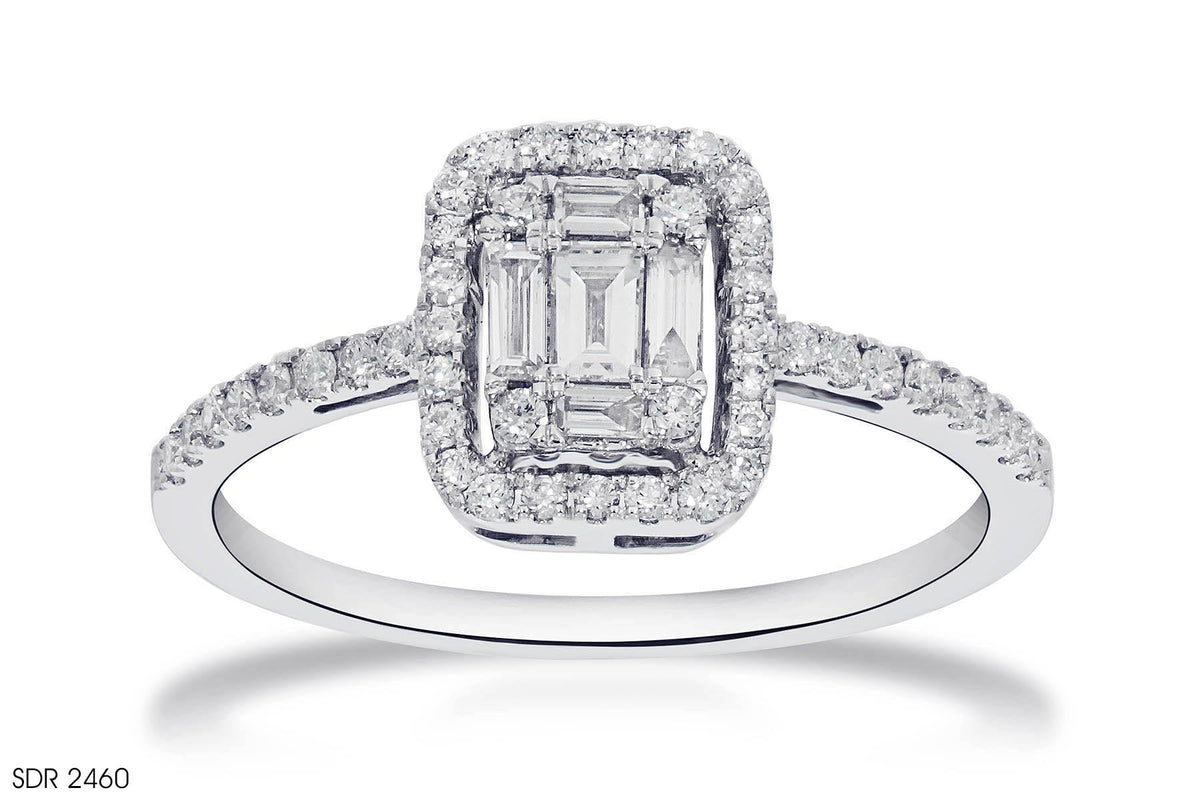 Square Halo Diamond Engagement  Ring In 18k White Gold