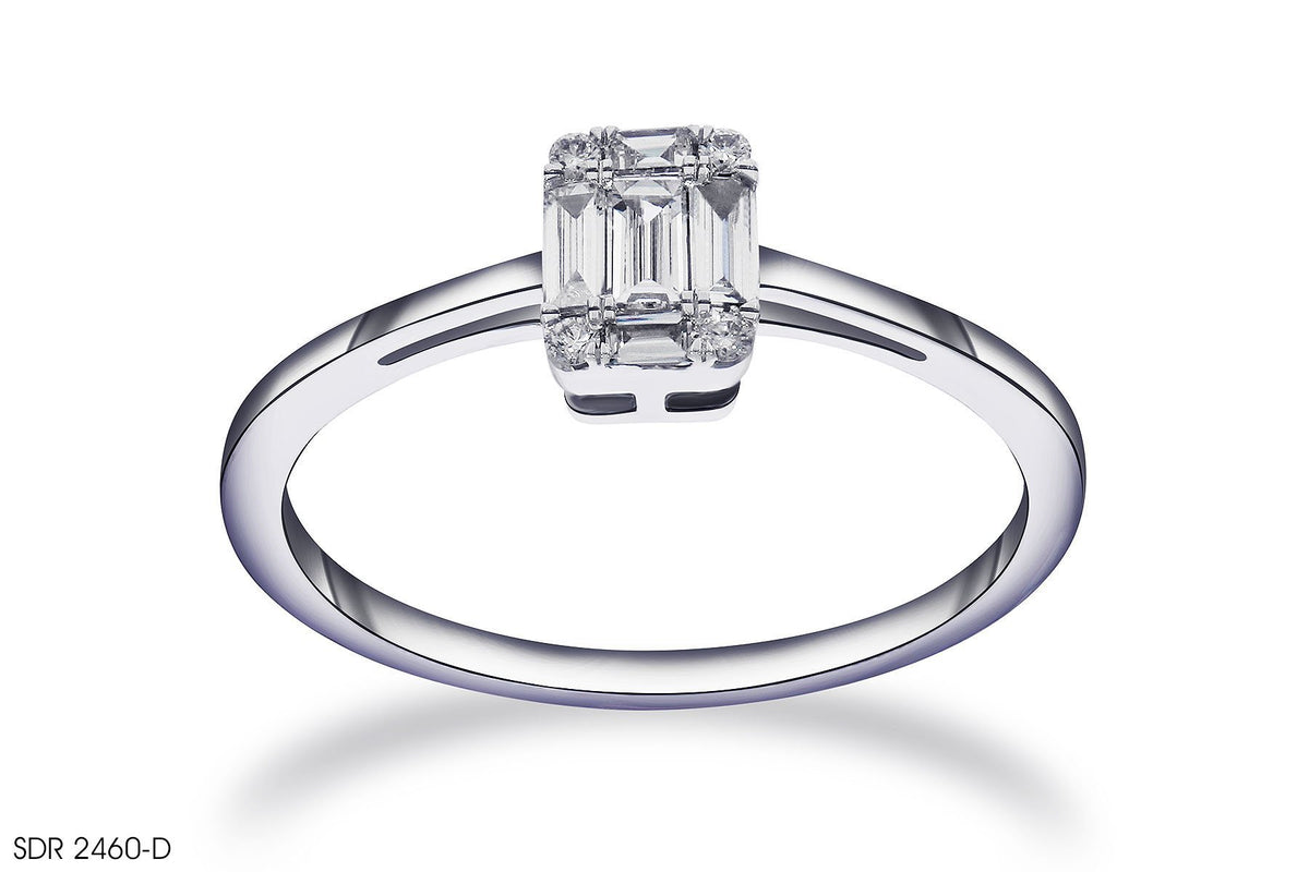 Cluster Diamond Engagement Ring In 18k White Gold