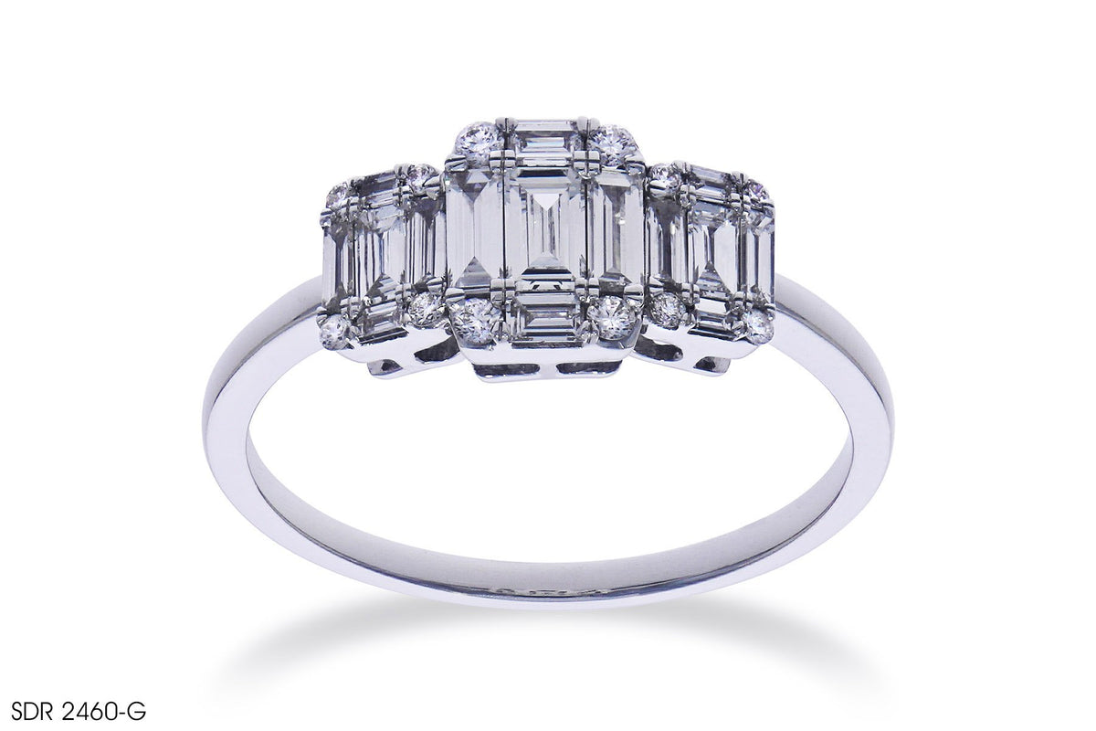 Trilogy Diamond Cluster Engagement Ring In White Gold