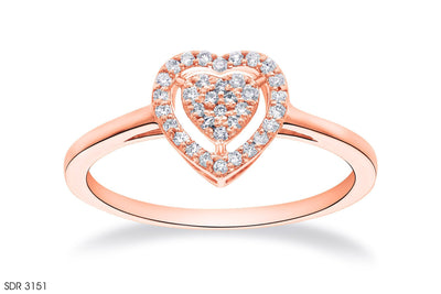 In 18k Gold Heart-Shaped Diamond Ring