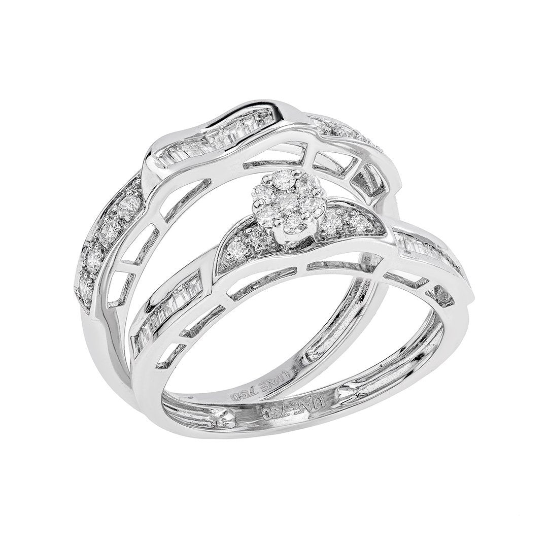 Charming Baguette Diamond Twin Rings In 18K White Gold