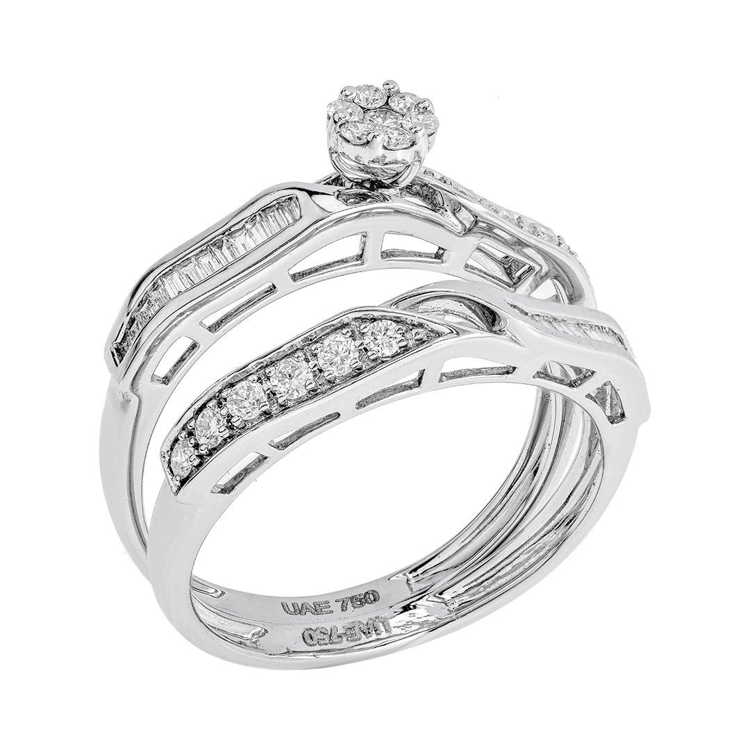 Baguette & Round Diamond Twin Rings In 18K White Gold