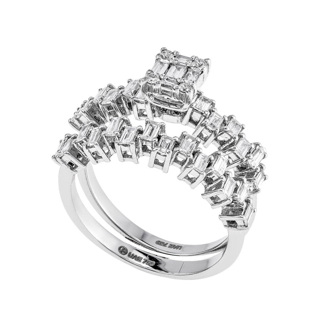 Exquisite Baguette Diamond Twin Rings In 18K White Gold