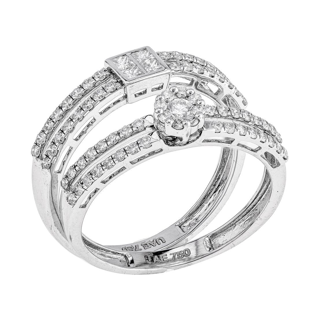 Chic Round Diamond Twin Rings In 18K White Gold