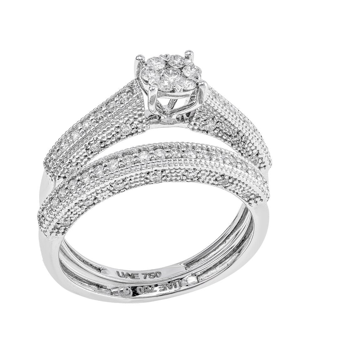 Half Eternity Round Diamond Twin Rings In 18K White Gold