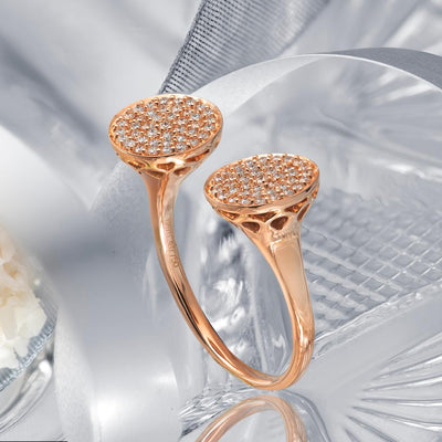 Two Sparkling Moon Gold Ring
