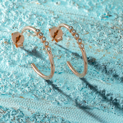 Halo & Half loop Gold Earrings