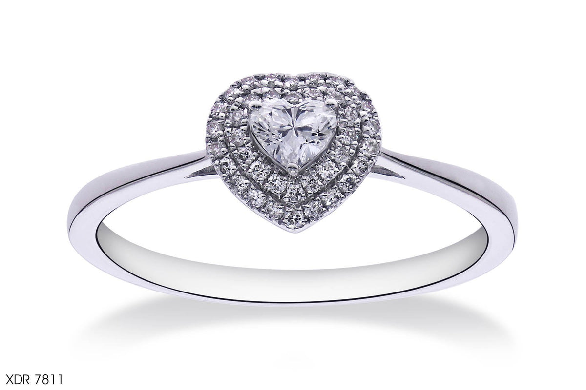 Heart-Shaped Halo Diamond Engagement Ring