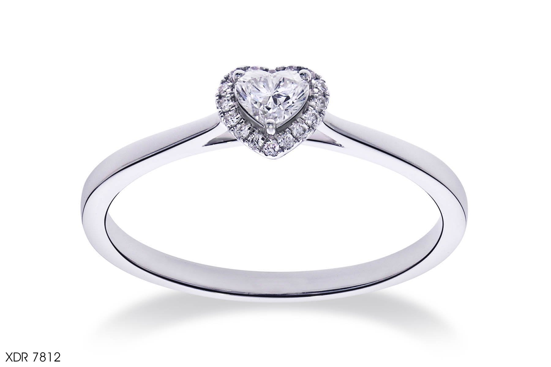 Dainty Heart-Shaped Diamond Engagement Ring