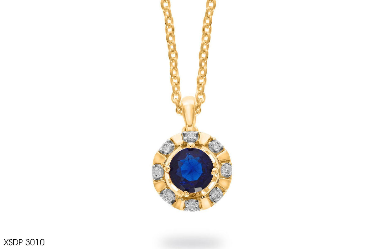 Princess Blue Sapphire Diamond Pendant In Gold