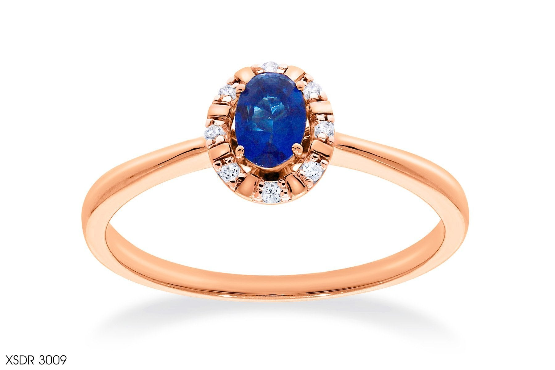 Tapered Shank Oval Blue Sapphire Diamond Ring