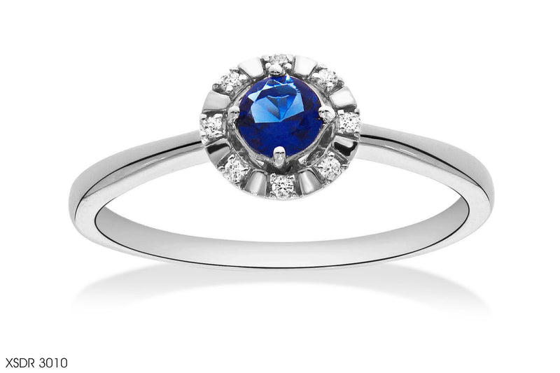 Princess Cut Blue Sapphire Diamond Ring