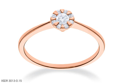 Diamond High-Toned Gold Ring
