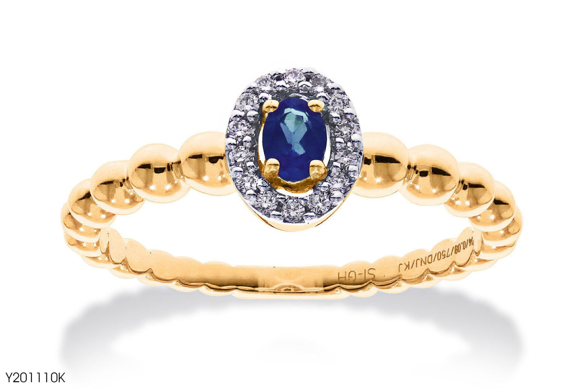 Beaded Shank Oval Shaped Blue Sapphire Diamond Ring