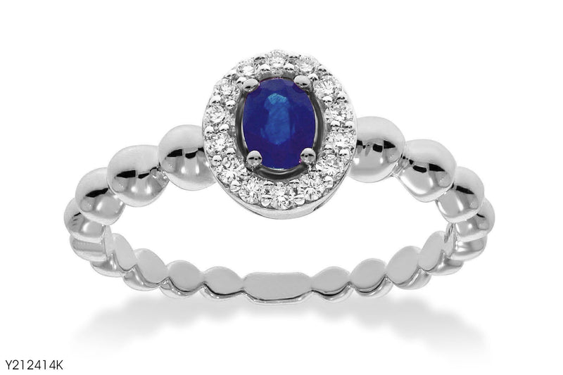 Oval Blue Sapphire Accent Diamond Ring