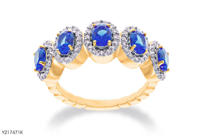 Five Blue Sapphire Accent Diamond Ring