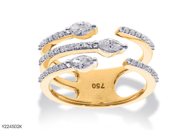 Multi Shank Complementary ends Diamonds Ring In 18k Gold