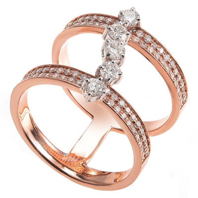 Channel set Connected Bands Diamond Ring