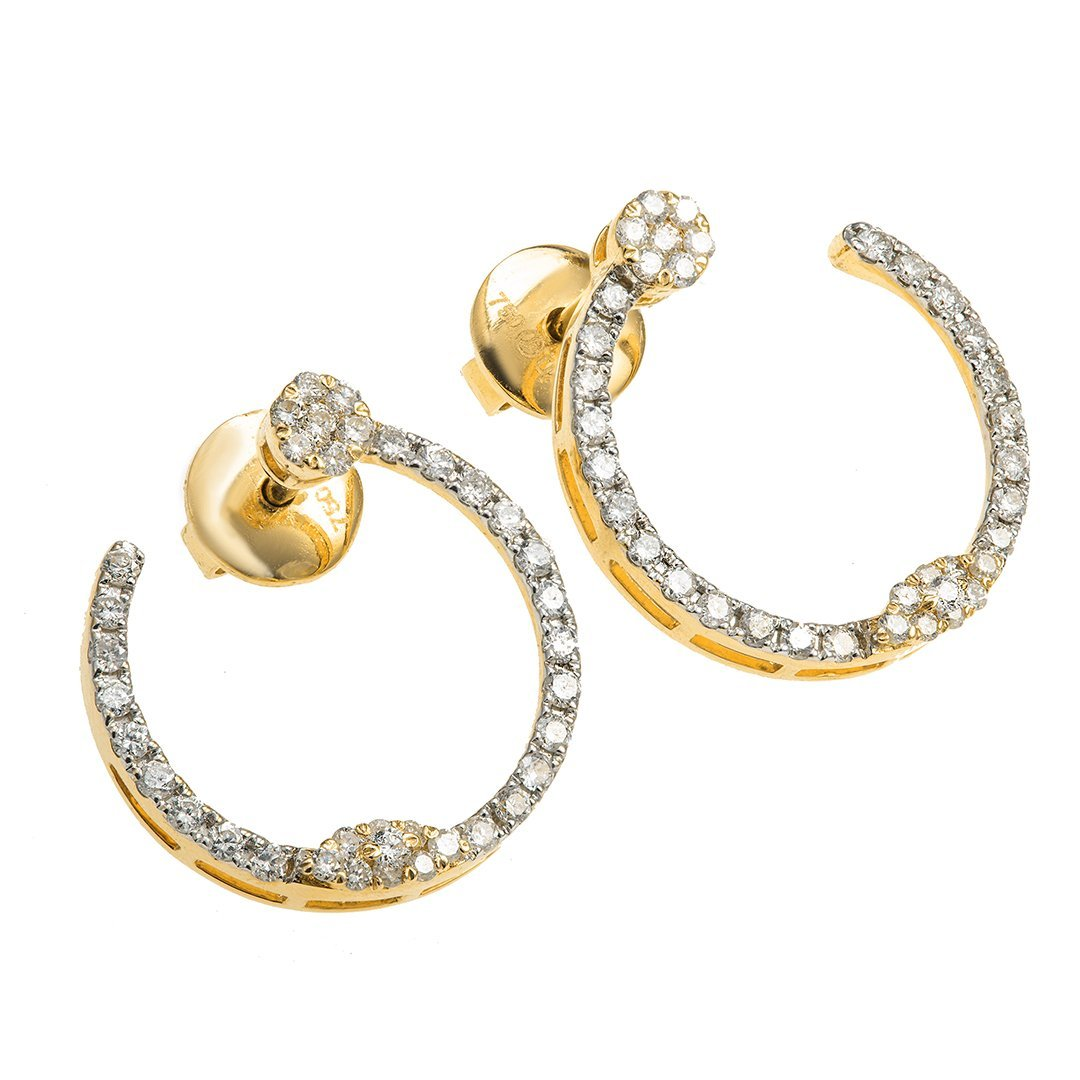 Plain Open Hoop Diamond Earring