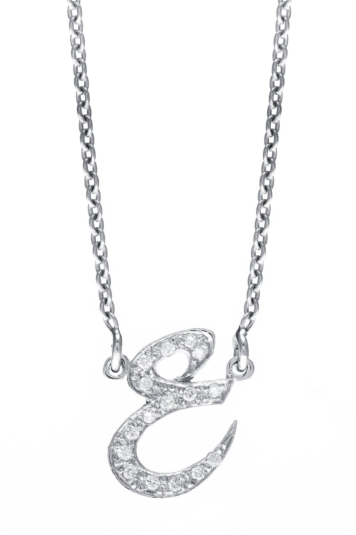 Arabic Initial Diamond Pendant in White Gold