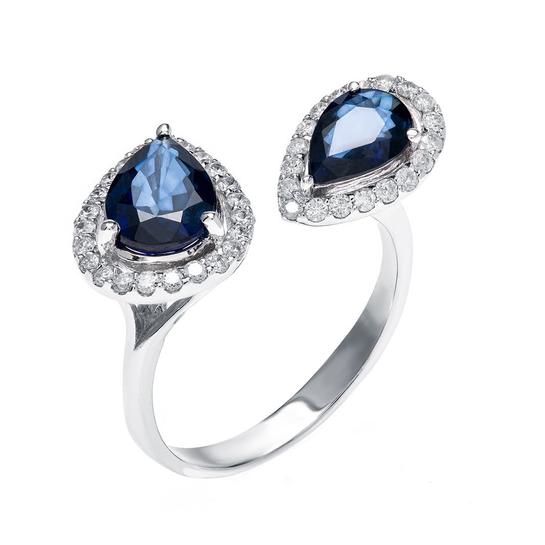 Blue Sapphire Halo Set Diamond Ring In White Gold