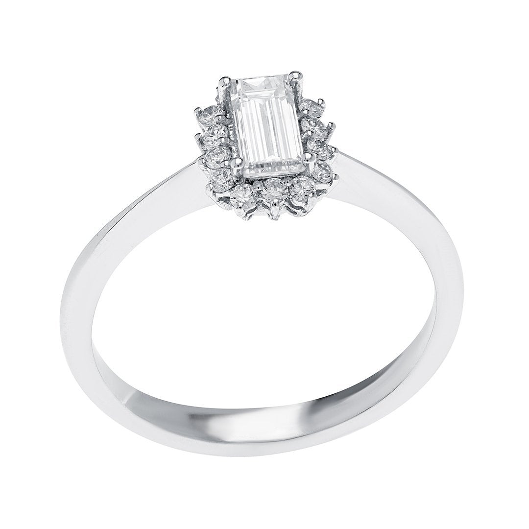 Tapered Shank Emerald Cut Diamond Ring In White Gold