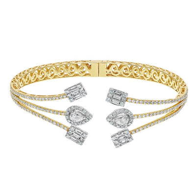 Dazzling Diamond Clusters Gold Bangle