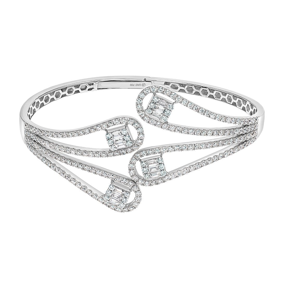 Stylish Square Baguette Diamond Bangle