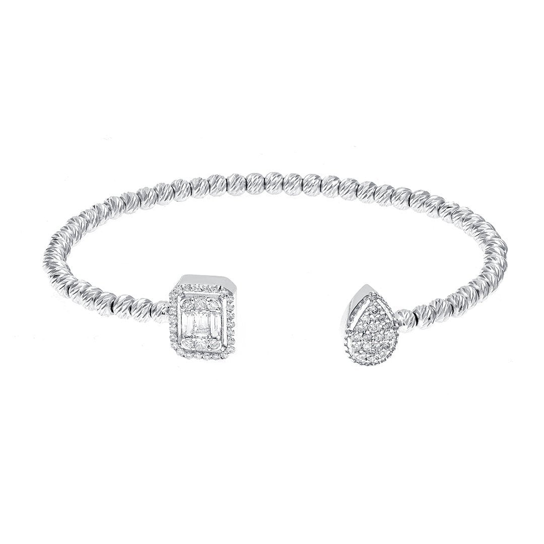 Enthralling Diamond Bangle In White Gold