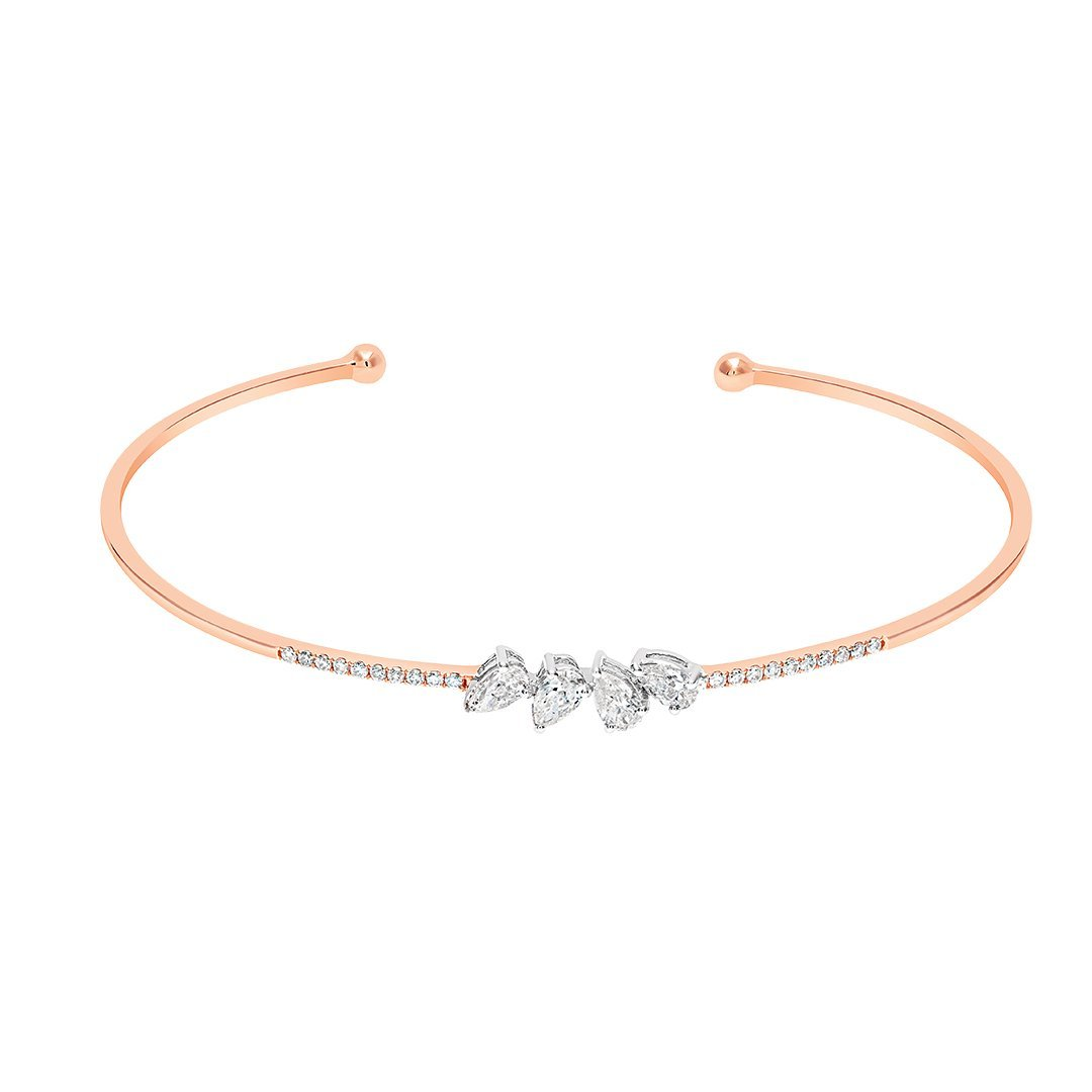 Endearing Petals Diamond Bangle in Gold
