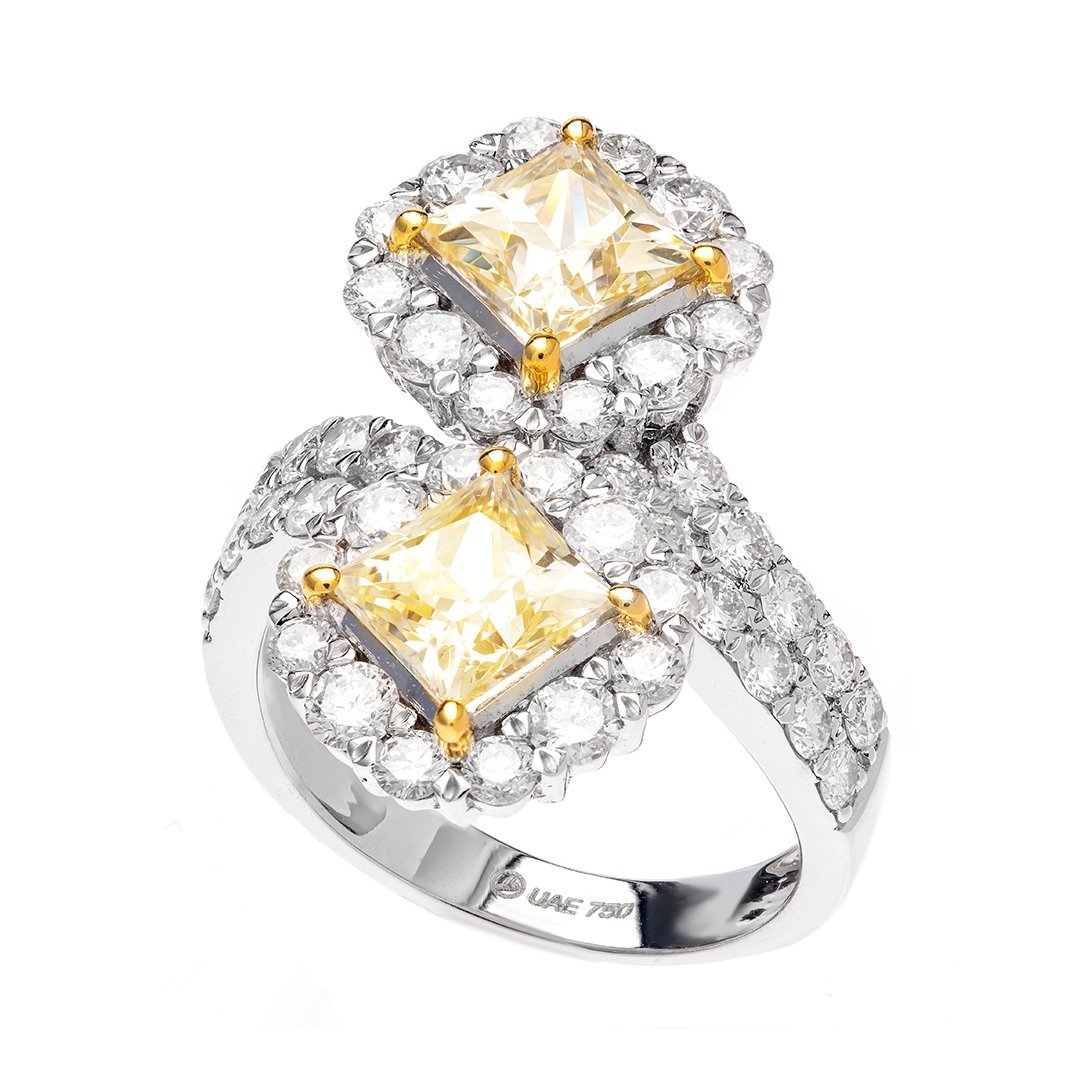 Pave Set Yellow Diamond Ring In White Gold