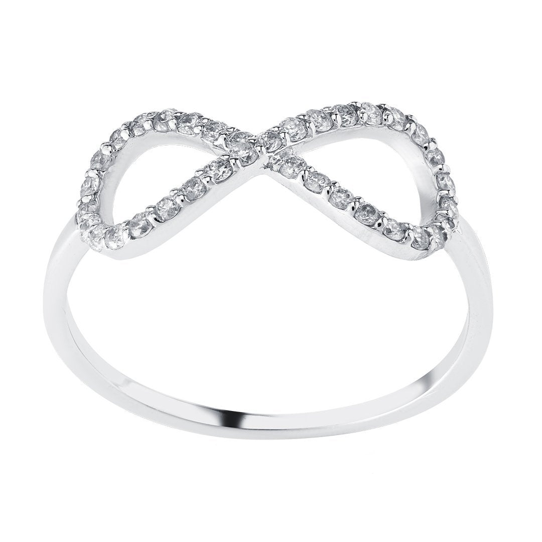 Infinity Diamond Ring In White Gold